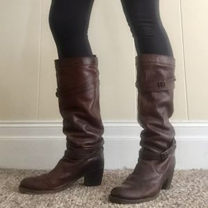 Frye 7.5 Jane Brown strappy heeled knee high boots